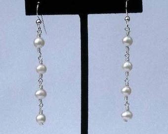 wire wrapped freshwater pearl earrings * sterling silver earrings * pearl earrings * bridal earrings * bridesmaid earrings * wedding