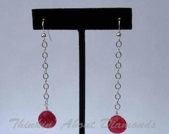 dyed red jade earrings * long earrings * dangle earrings * drop earrings * red earrings * gemstone jewelry