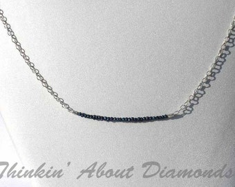 dyed blue seed pearl necklce with sterling silver chain * dainty necklace * something blue * bridesmaid necklace * bridesmaid gift