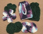 Soap and Scrub for ONE Gift Set - 1 Soap Saver, 1 Floral Face Scrubby, 2 Round Face Scrubbies  - Free Shipping - Made to Order