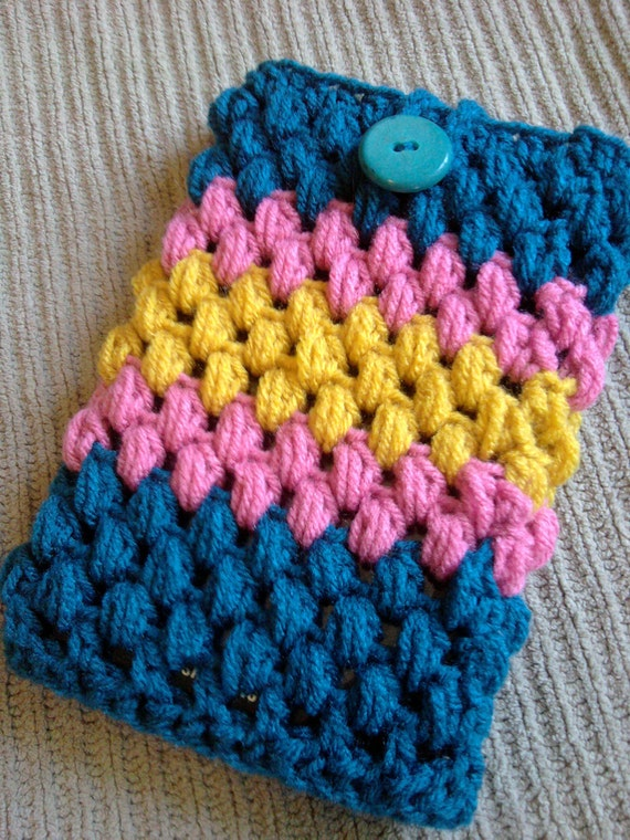 """Teal, Raspberry and Gold Sleeve for Small Laptop or  7-8"""" Tablet Nook or Kindle"""