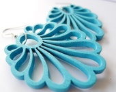Scuba Blue Fan Flower Earrings