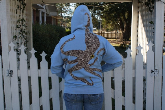 Cephalopod on my Back Blue Hoodie Large