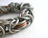 Stainless Steel and Copper Byzantine Chainmail Bracelet