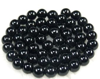 Black Glass Pearls 6mm