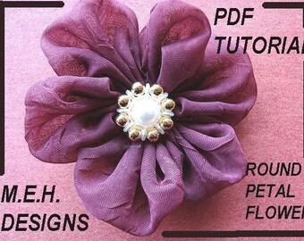 fabric flower tutorial, Round Petal Flower, tutorial. num. 12, accessories, flowers, bridal, brooches, pins, floral,