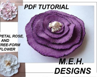 pdf flower tutorial  pattern, num. 3, FELT FLOWERS for brooches, hair pins, etc., make them to sell. no sewing machine required