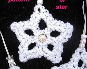 SNOWFLAKE OR STAR, Crochet Pattern, diy holiday Christmas ornament, #34 Bunting, Tree ornament, Banner, Mobile, crochet Christmas pattern