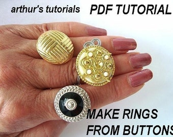 Ring tutorial, Make Button Bling Rings,  TUTORIALS..NUM. 42B. more jewelry tutorials in my shop