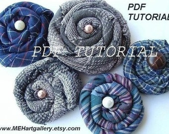 COILED FLOWER tutorial, fabric flower Number 4 pdf tutorial make your own flowers..with RECYLED men's shirts  no sewing machine required