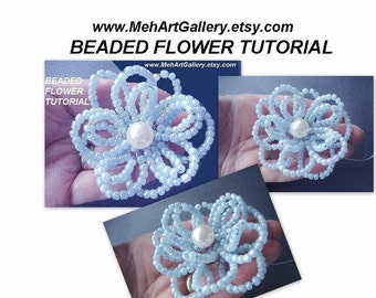 jewelry tutorial flower tutorial  beaded flowers num. 48 make them any size ok to sell your finished flowers. headbands, bridal, shoe clips