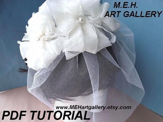 Number 1....PDF TUTORIAL, MAKE YOUR OWN   SHABBY CHIC BRIDAL HEADPIECE, FASCINATOR, HEADBANDS ... AND VEIL....... more flower making tutorials in my shop