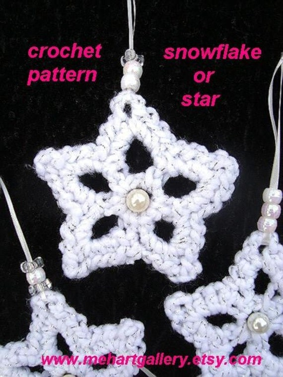 SNOWFLAKE OR STAR Crochet Pattern Christmas holiday diy ornament, #34 Bunting, Tree ornament, Banner, Mobile, crochet patterns for Christmas