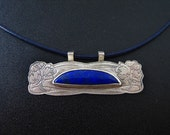 use code OMG40 to TAKE 40 percent OFF SALE Sterling Silver Flowers pendant with Lapis Lazuli
