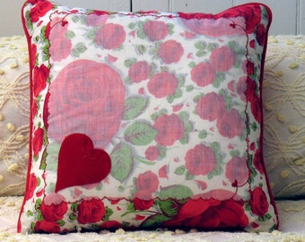 Vintage Heart Me Handkerchief Pillow