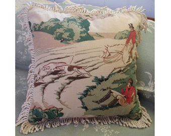 Decorative pillow, Bumpy Ride vintage textile equestrian pillow