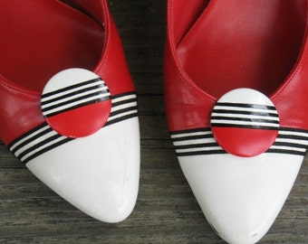 Vintage 70s shoes red/black/white stripe womens shoes