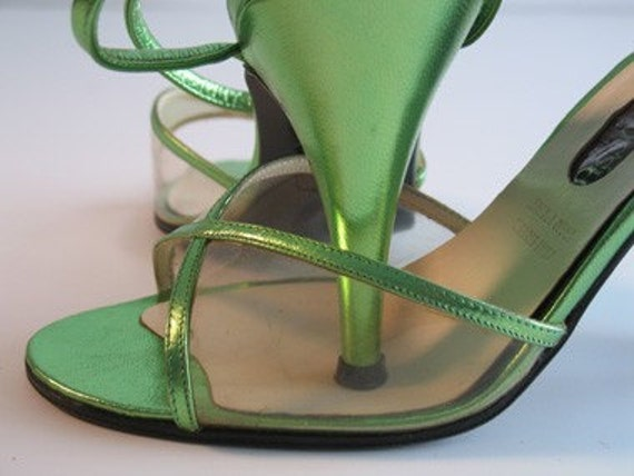 Vintage Sergio Rossi iridescent green see-thru ladies shoes/ankle straps
