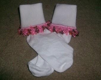 Pink Root Beer Beaded Socks and Scrunchie Sale
