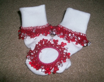 Red and Clear  Beaded Socks, fancy socks, baby socks, ruffle socks, red socks, girls socks tri bead socks, and Scrunchie