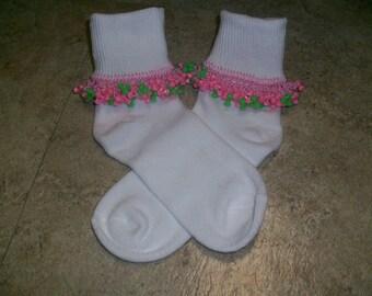 Pink Limeade Beaded Socks