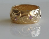 Nurit design hand made 14 karat gold plated on sterling silver ring with Amethyst .
