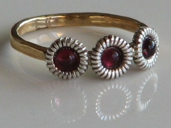 14K Gold-Filled Hammered Ring with Garnet Stone crowns