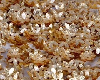 100 Pale Golden Color texturised Flower sequins/KBSF388