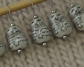 cat knitting stitch markers - snag free - ceramic cat beads - pale gray - set of 6 - two loop sizes available