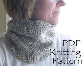 Knitting Pattern PDF- Deco-Leaf Cowl - great for gifts - scarf cowl neckwarmer cozy - knitting pattern using worsted or sock yarn