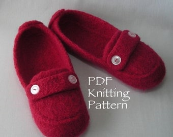 Knitting Pattern PDF - Womens Felted Slipper Pattern - Back to School DIY College Student gift - resale permission - BULKY weight yarn