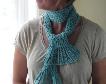 Knitting Pattern PDF- Waterfall Lace Cravat - great for gifts - scarf cowl wrap -  pattern using sock or fingering yarn