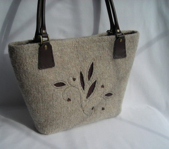 eastport bag knit felted wool purse with leather