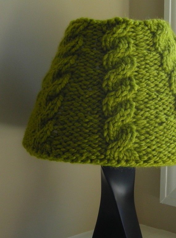 Cable Knit Lampshade Cover - Small - Moss Green - Free Shipping in US