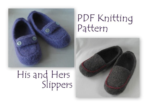 Knitting Patterns PDF -  His and Hers Felted Slippers - great DIY Wedding Anniversary Gifts - Mens and Womens Mocs using BULKY  weight yarn