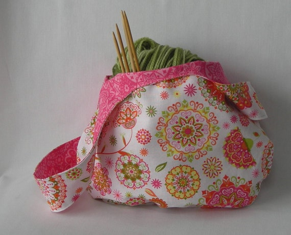 Reserved for Mona - reversible project bag - Not Just for Sock Knitters Bag - bright pink print - free knitting pattern with purchase