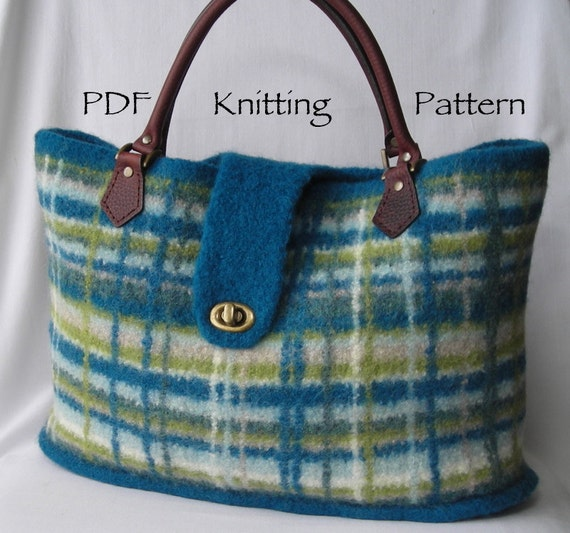 Knitting Pattern PDF Felted Wool Portland Plaid Bag purse
