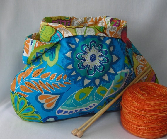Japanese knot bag - medium size project bag for knitting crochet or amigurumi - Valorie Wells cocoon fabric - free knitting pattern too