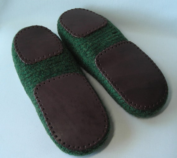 Knitting Pattern For Slippers With Soles : Mens leather slipper soles for knitted crochet felted