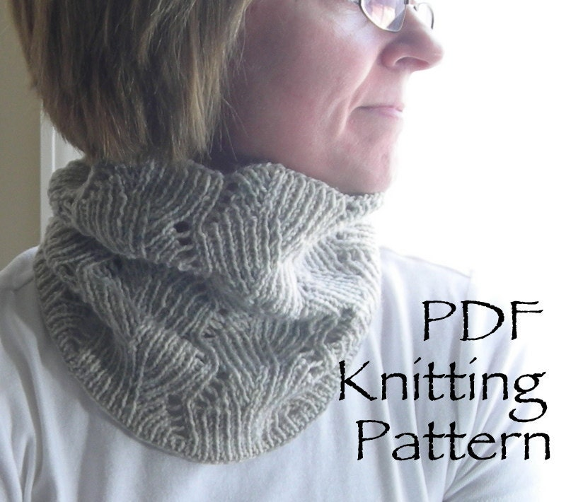 Knitting Pattern PDF Deco-Leaf Cowl great for gifts scarf
