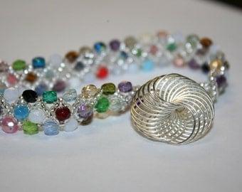 Multi-Color Faceted Woven Bracelet