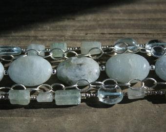 Aquamarine and Silver bracelet (adjustable sizes 6-1/2 to 8-1/2)