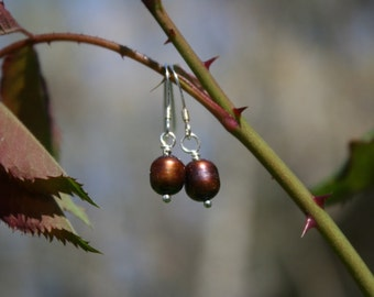 Copper Colored Freshwater Pearl Earrings, Sterling Silver