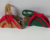 Crochet Christmas Ornament~Christmas Log Ornament~Christmas Ornament~Gift under 3~Tree Decoration~Red~Green~Holiday Decoration~Ready 2 Ship