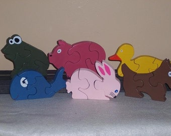 Wooden Animal Puzzles~ Frog,Pig, Duck, Whale, Rabbit, Dog, Hippo, Puzzles~Development Toy~Educational Toy~Educational Gift~Toddler Puzzle