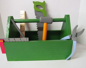 Wooden Childs Tool Box~Minature~Wooden Toy~Pretend Play~Photo Prop~Children's Wooden Green Tools Box with Tools~Gift~Birthday~Boy~Girl~Toy