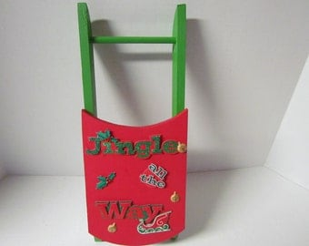 Wooden Christmas Sled Decoration End of Inventory Sale