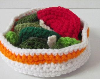 Play Food, Salad, Amigurumi, Pretend Play, Kids. Kitchen Play set, Crochet Toys, Imagination Play, Pretend Play, Vegetables, Crochet Food