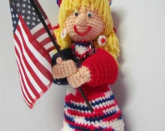 Crochet Amigurumi 4th Of July Doll~Patriotic Doll~Holiday~Miss 4th of July Crochet Doll~Holiday Decoration~4th July Decoration~Party Decor
