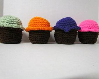 Amigurumi Crochet Cupcake~Chocolate Cupcake~Play Food~Child's Kitchen~Pretend Play~Crochet Play Food Toy~Birthday Gift~Amigurumi Food